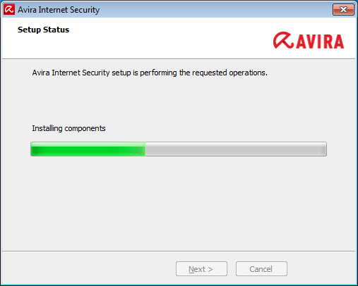 Avira Internet Security > Setup Status > Installing components