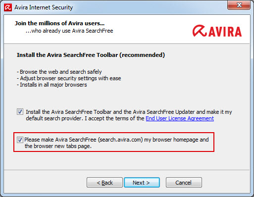 Installation Avira SearchFree Toolbar - Startseite