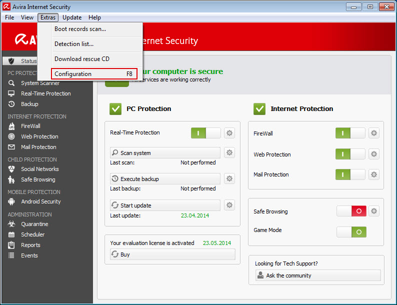 Avira Internet Security > Extras > Configuration