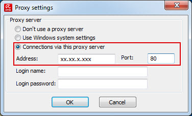 Proxy settings - Connections via this proxy server