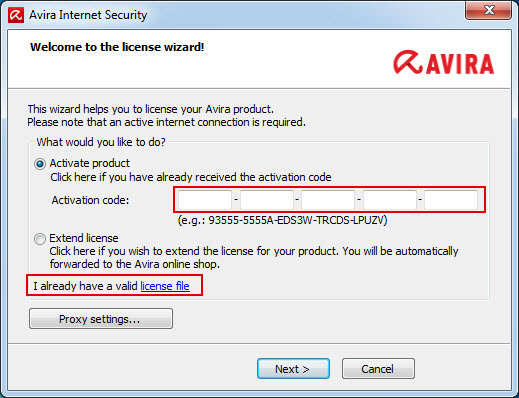 Avira Internet Security 2012 - license wizard