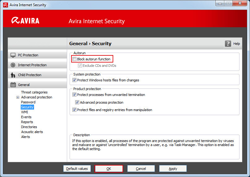 General > Security > Block autostart function
