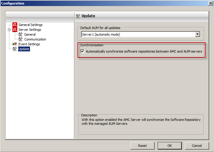 AMC config update activate sync AMC with AUM