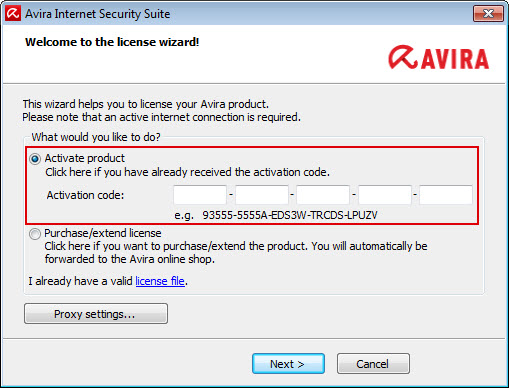 Avira Internet Security Suite - License wizard - Enter activation code
