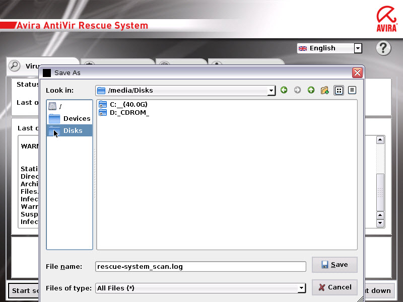 AntiVir Rescue System - virus scanner 2