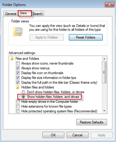 Win7 folder options