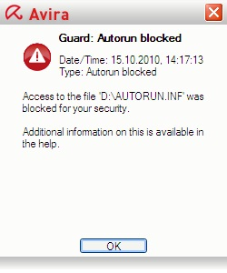 Avira Guard: Autorun blocked