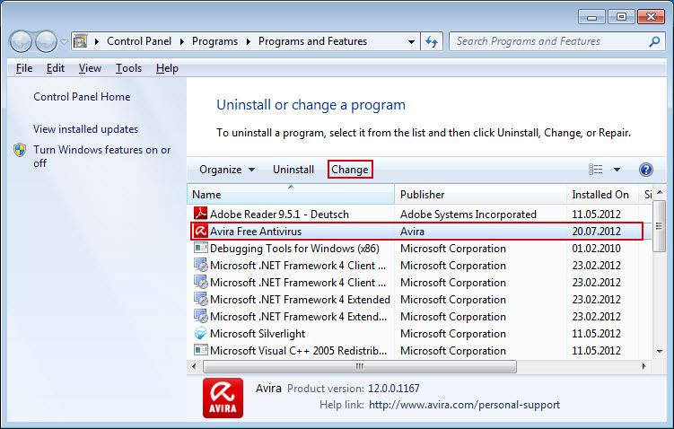 Control Panel - Programs and Features - Avira Free Antivirus