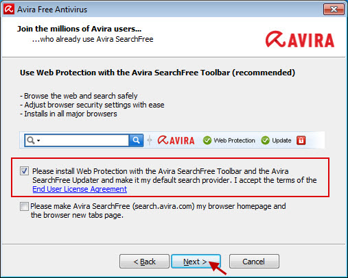 Avira Free Antivirus - Web Protection con <notranslate>Avira SearchFree Toolbar</notranslate> - Acuerdo de licencia