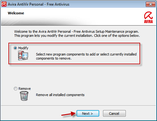 Avira AntiVir Personal - Welcome Window - Modify