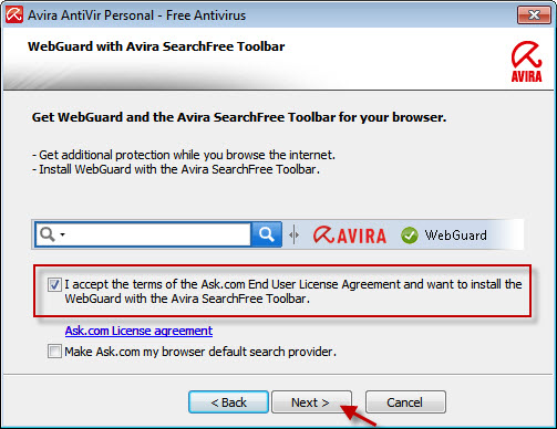 Avira AntiVir Personal - WebGuard と Avira SearchFree Toolbar - 使用許諾契約