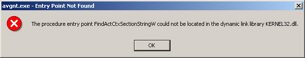 The procedure entry point FindActCtxSectionStringW could not be located in the dynamic link library KERNEL32.dll