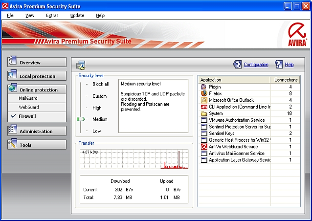 Avira Security Suite - Firewall settings