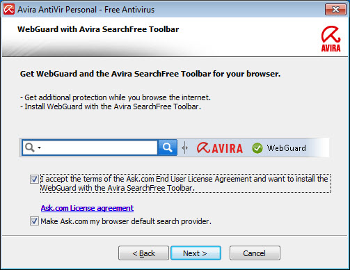 Avira AntiVir Personal - WebGuard 和 Avira SearchFree Toolbar - 授權合約