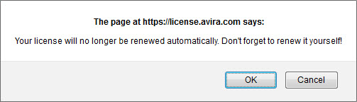 confirmation message auto-renewal OFF