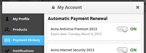my account automatic renewal on