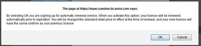 confirmation message when turning auto-renewal ON