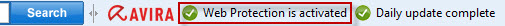 Avira Toolbar - Web Protection is activated
