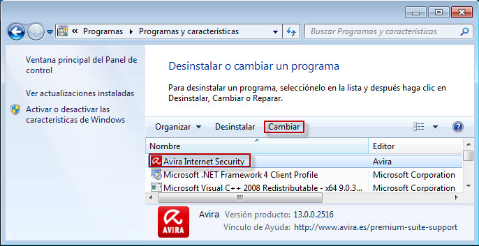 Instalación de cambio de Avira Internet Security