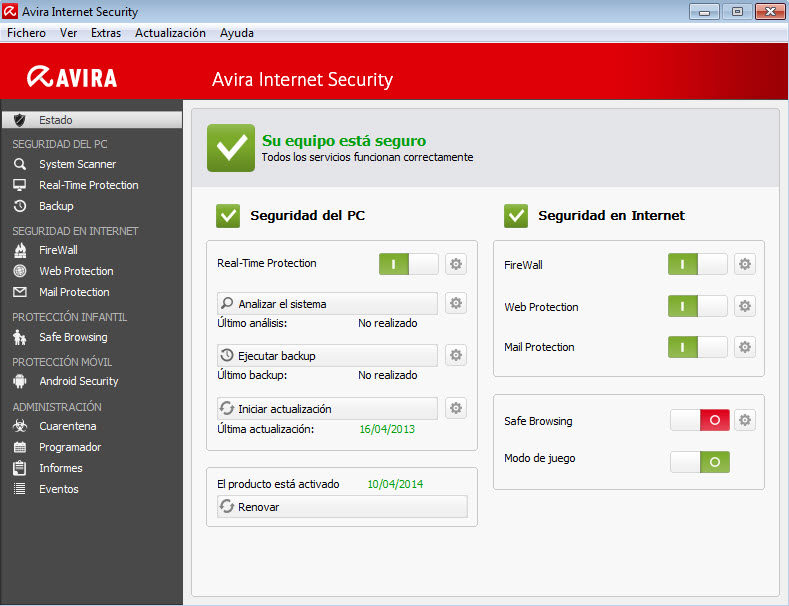 Avira Control Center - Start Update