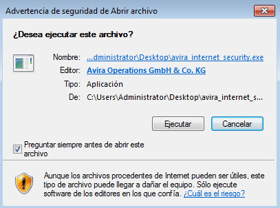 Apertura de avira_internet_security.exe