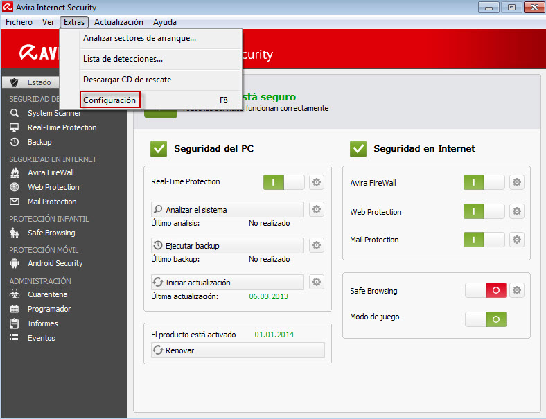 Avira Internet Security > Extras > Configuración