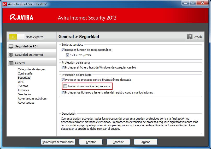 General - Seguridad - Protección del producto - Protección extendida de procesos