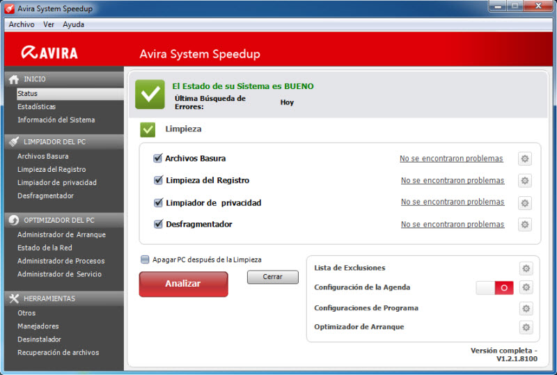 Avira System Speedup after performing a repair