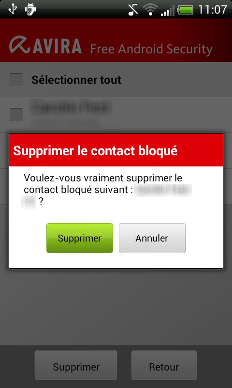 <not translate>Avira Free Android Security</not translate> - Supprimer le contact