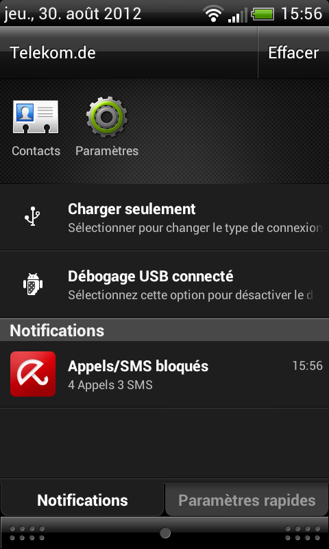 <not translate>Avira Free Android Security</not translate> - Événements bloqués
