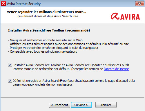 Avira Internet Security > Install Avira SearchFree Toolbar