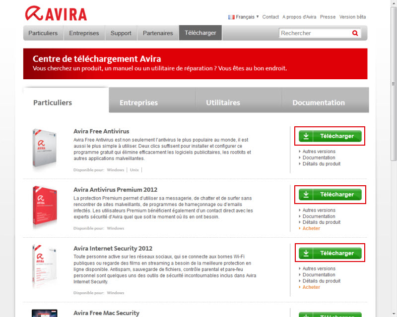 Avira Website - Download Center