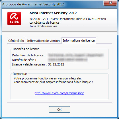 Avira Internet Security - Informations de licence