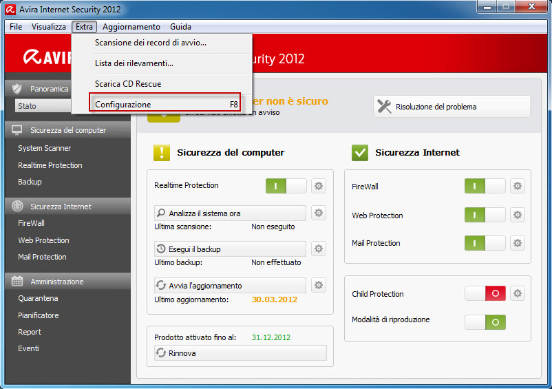 Avira Internet Security 2012_Extras_Configuration_it