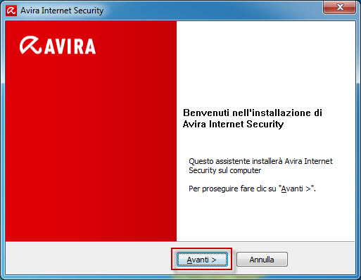 Avira Internet Security - Finestra di benvenuto