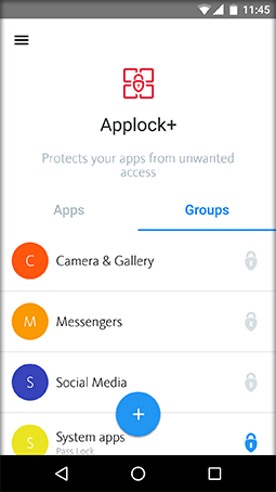 Select a group of apps to lock